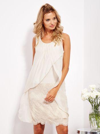 SCANDEZZA Jasnobeżowa sukienka z jedwabną warstwą