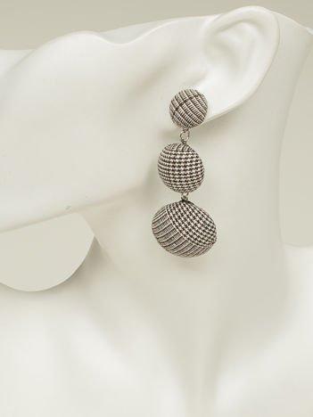 SCANDEZZA Kolczyki damskie pokryte materiałem brązowo-białe