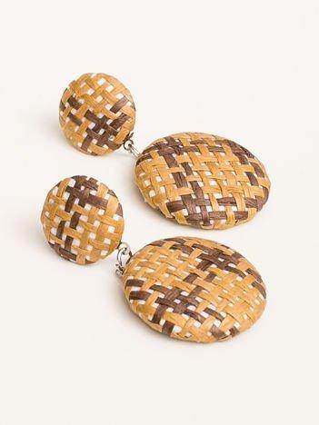 SCANDEZZA Kolczyki damskie pokryte materiałem brązowo-rude