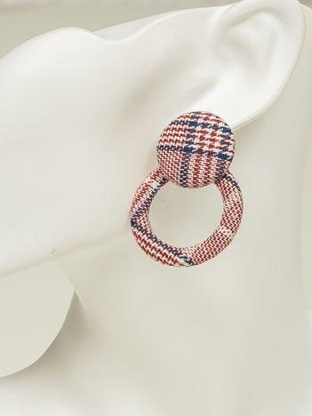 SCANDEZZA Kolczyki damskie pokryte materiałem czerwono-niebiesko-białe