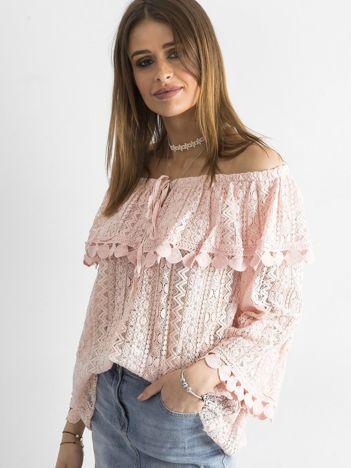 SCANDEZZA Różowa bluzka hiszpanka