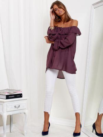SCANDEZZA Śliwkowa bluzka hiszpanka z wiązaniem i dłuższym tyłem