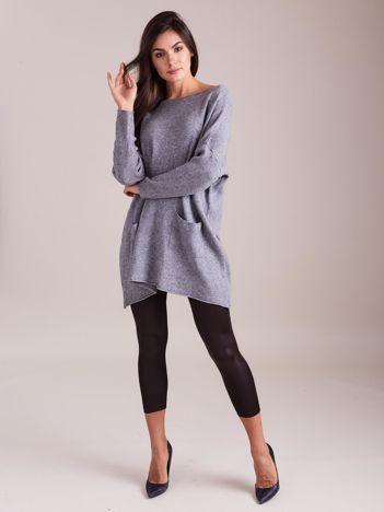 SCANDEZZA Szary długi sweter