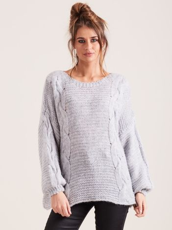 SCANDEZZA Szary sweter z warkoczami
