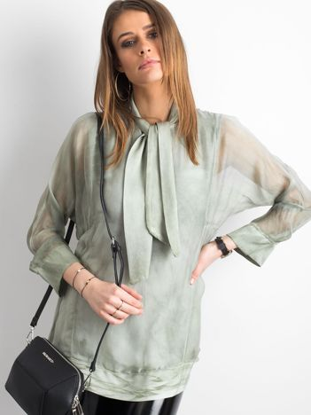 SCANDEZZA Zielona bluzka z wiązaniem