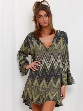 SCANDEZZA Zielona sukienka w geometryczny nadruk