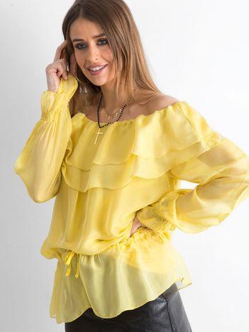 SCANDEZZA Żółta tunika z hiszpańskim dekoltem