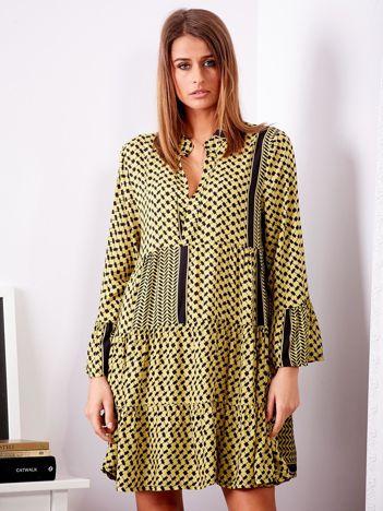 SCANDEZZA Żółto-czarna sukienka we wzory