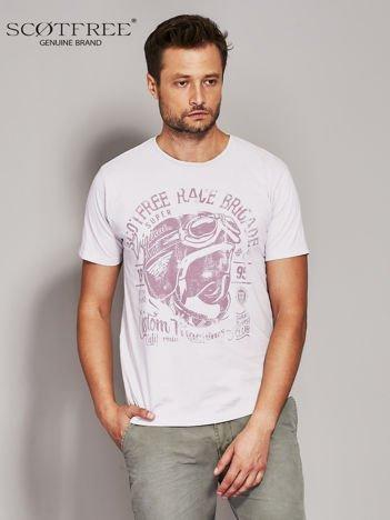 SCOTFREE Beżowy t-shirt męski z nadrukiem vintage