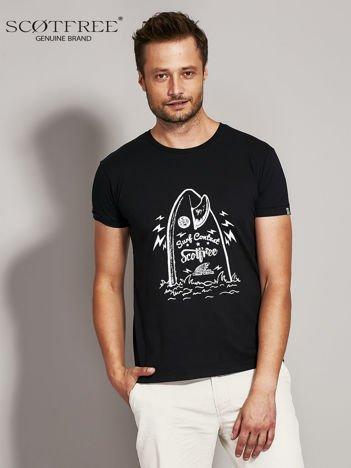 SCOTFREE Czarny t-shirt męski z surferskim nadrukiem