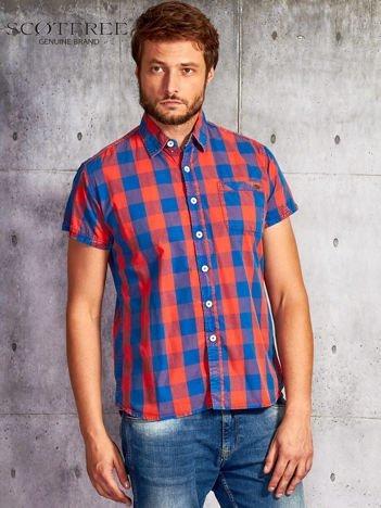 SCOTFREE Czerwona koszula męska w kratę