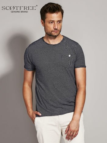 SCOTFREE Granatowy t-shirt męski w drobne paski