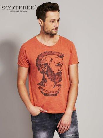 SCOTFREE Pomarańczowy t-shirt męski z nadrukiem