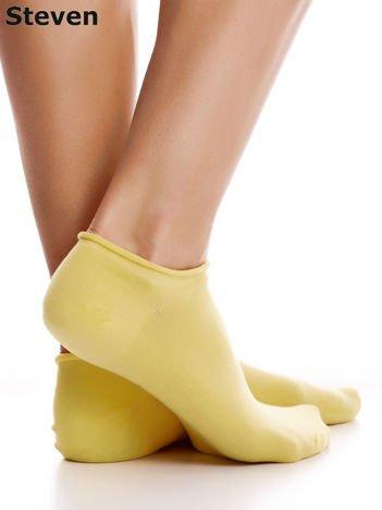 STEVEN Bawełniane żółte skarpety stopki