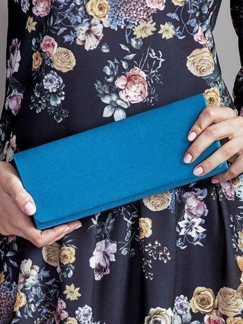 Satynowa gładka kopertówka z lusterkiem niebieskozielona