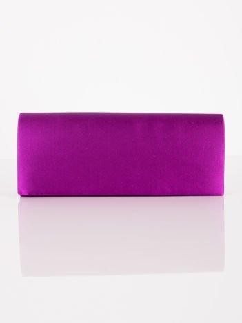 Satynowa gładka kopertówka z lusterkiem purpurowa