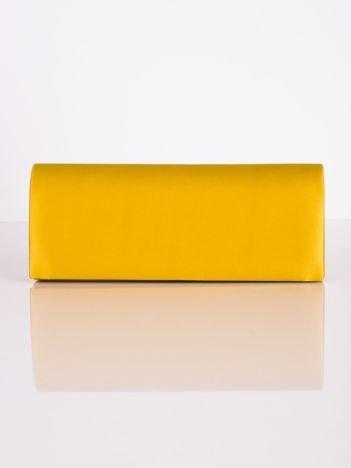 Satynowa gładka kopertówka z lusterkiem żółta