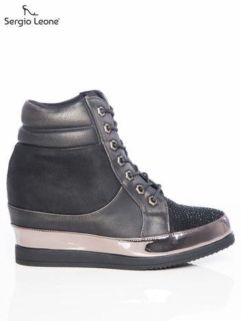 Sergio Leone czarne sneakersy z wysoką pikowaną cholewką i lustrzaną wstawką dookoła podeszwy