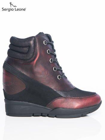 Sergio Leone czarno-bordowe sznurowane, przecierane, metaliczne sneakersy z wysoką pikowaną cholewką