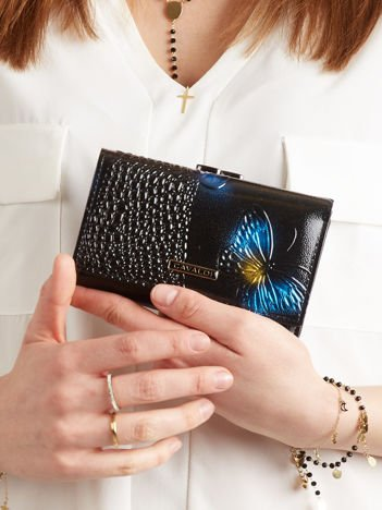 Skórzany portfel damski w motyle czarno-niebieski
