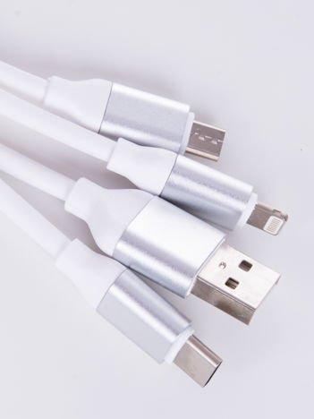 Smart Fit Oryginalny Kabel 3 w 1 MICRO ,LIGHTNING ,USB-C 120 cm biały