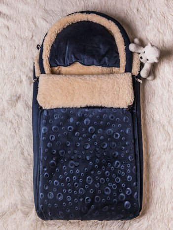 Śpiworek niemowlęcy do wózka lub łóżeczka z poduszeczką ocieplany na futerku granatowy