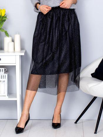 Spódnica czarna z błyszczącą tiulową warstwą