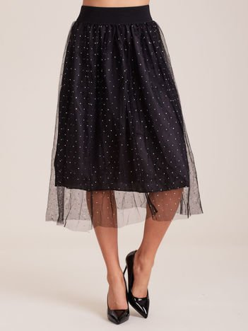 Spódnica damska midi w błyszczące groszki czarna