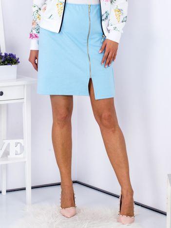Spódnica dresowa jasnoniebieska z suwakiem