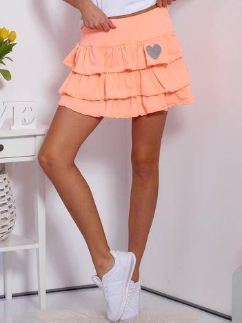 Spódnica fluo pomarańczowa dresowa z falbankami