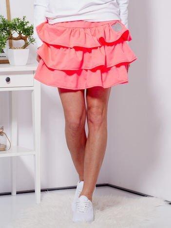 Spódnica fluo różowa dresowa z falbankami