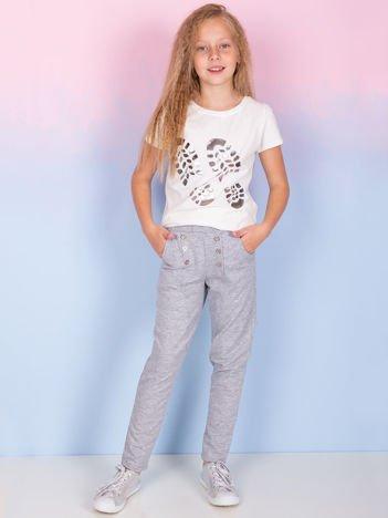 Spodnie dresowe dla dziewczynki jasnoszare z guzikami