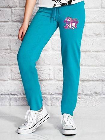 Spodnie dresowe dla dziewczynki z nadrukiem LITTLE PONY zielone