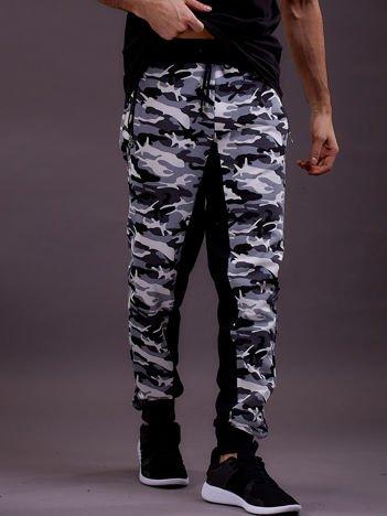 Spodnie dresowe męskie moro z kieszeniami na suwak