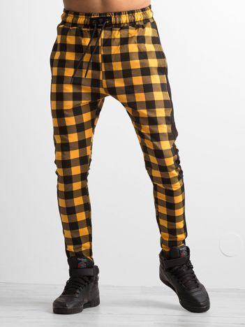 Spodnie dresowe męskie w kratkę żółte