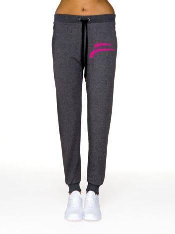 Spodnie dresowe z kolorowym logo grafitowe