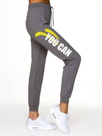 Spodnie dresowe z nadrukiem i wyższym stanem szare