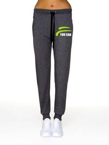 Spodnie dresowe z nadrukiem na udzie grafitowe