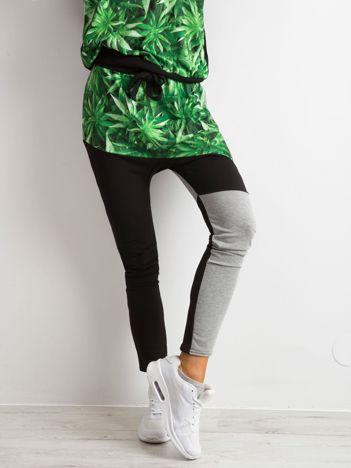 Spodnie z nadrukiem czarno-szare BY O LA LA
