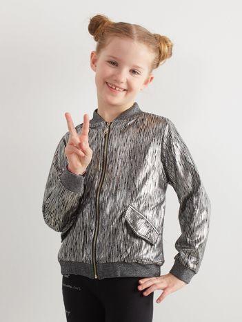 Srebrna bluza bomberka dziewczęca