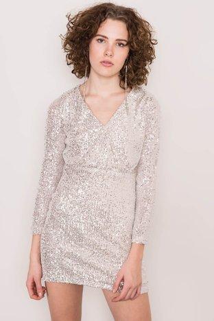 Srebrna cekinowa sukienka BSL