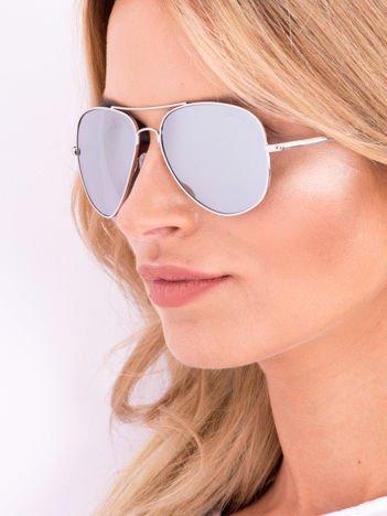Srebrne PILOTKI AVIATORY Okulary Przeciwsłoneczne Z Systemem FLEX Na Zausznikach