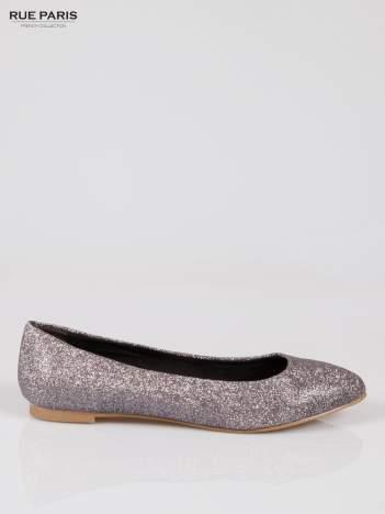 Srebrne baleriny glitter Starlit ze smukłym noskiem