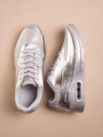 Srebrne buty sportowe faux leather Desire na podeszwie z poduszką powietrzną