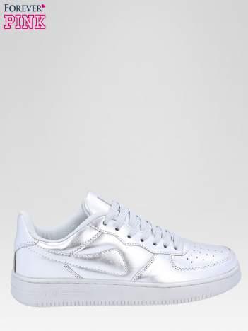 Srebrne buty sportowe faux leather Mousse na grubej podeszwie