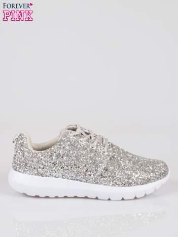 Srebrne buty sportowe textile Crummy z brokatowym efektem