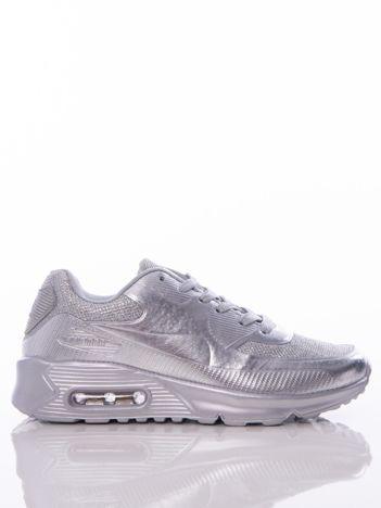 Srebrne buty sportowe z poduszką powietrzną i brokatową wstawką na przodzie