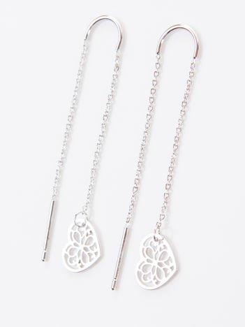 Srebrne kolczyki damskie -AŻUROWE SERCE wykonane z najwyższej jakości STALI CHIRURGICZNEJ 316L