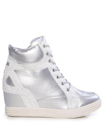 Srebrne lekko błyszczące sneakersy ze srebrnymi sznurówkami