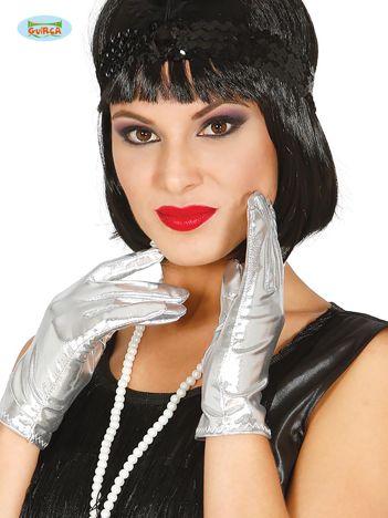 Srebrne rękawiczki damskie karnawałowe